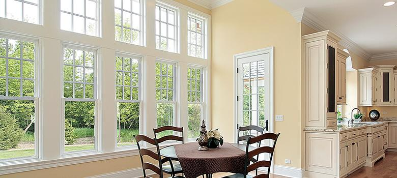 Dining Room with Double Hung windows.