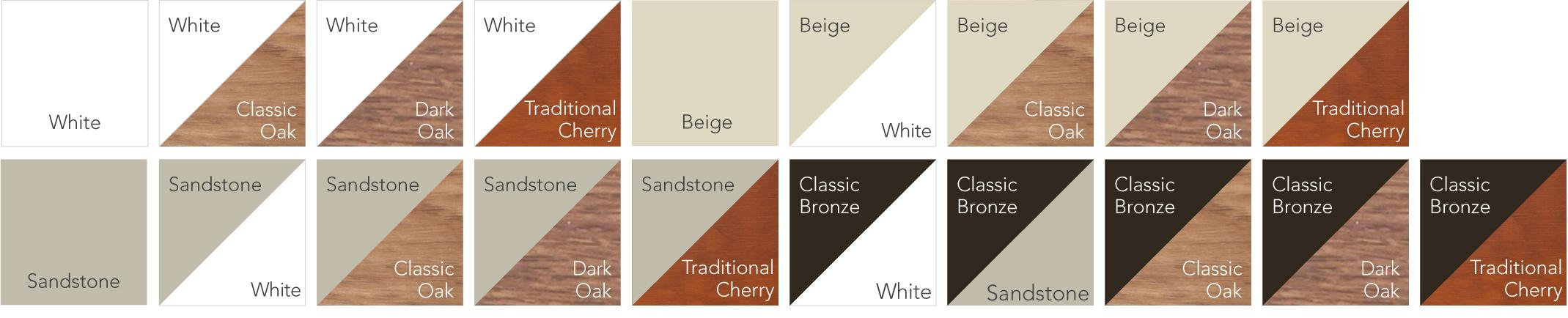 Aeris™ Window Grid Colors include White, Classic Oak, Dark Oak, Traditional Cherry, Beige, Sandstone, Classic Bronze, and combinations thereof.