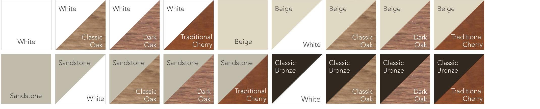 Endure™ Window Grid Colors include White, Classic Oak, Dark Oak, Traditional Cherry, Beige, Sandstone, Classic Bronze, and combinations thereof.