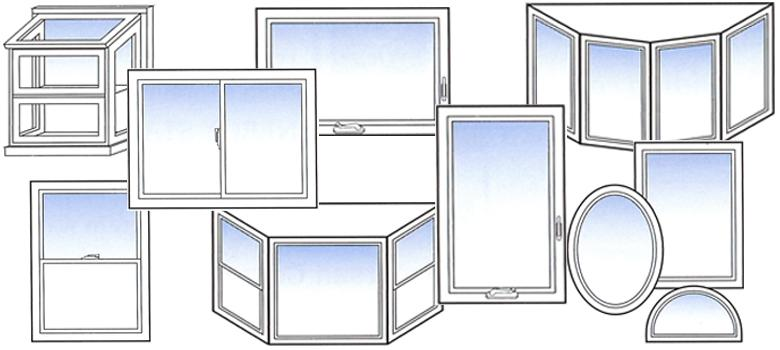 Artistic depiction of a variety of window types.