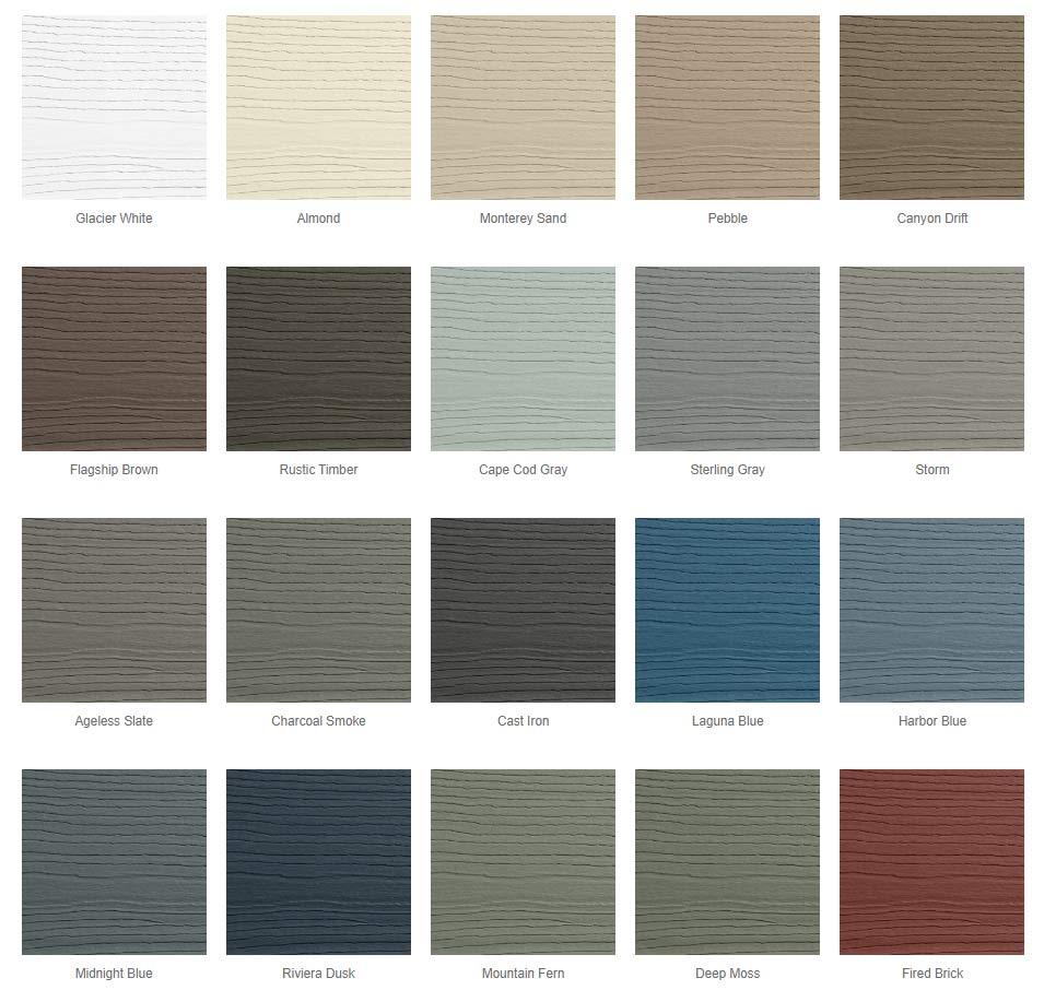 Composite siding color options